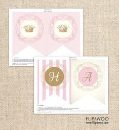 Princess Happy Birthday Pink and Gold Flag Banner by FLIPAWOO - Classic Stripes - Instant Download Printable PDF File on Etsy, $7.00