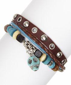 Look at this #zulilyfind! Brown Leather & Turquoise Skull Bracelet #zulilyfinds