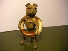 Antique Bergman Vienna Bronze Pug Dog wearing Life Ring - Cold Painted