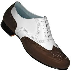 Aris Allen Men's 1930s Brown and White Spat Style Wingtip Dance Shoe: