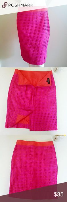 """Talbots Pink eyelet skirt Gently worn. Pencil silhouette. Pink with an orange liner and waist band. Slit. Zipper in back. Eyelet textured. Perfect pop of color. Measurements: length 22"""" slit 7""""  waist 27.5""""  hip 37.5""""  Make an offer loves, bundle and I'll make you a private offer, or bundle for a discount! Talbots Skirts Pencil"""
