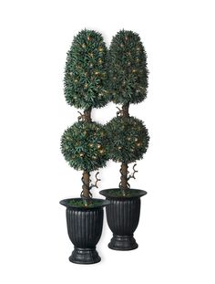 Green Artificial Topiary Trees For Your Natural Interior Decor Idea: Myrtle Royal Potted Artificial Topiary Trees With LEDs