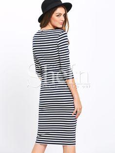 Облегающее поосатое платье. рукав до локтя Dress P, Half Sleeves, Striped Dress, High Neck Dress, Clothes, Black, Fashion, Turtleneck Dress, Outfits