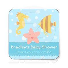 Baby Shower: Cute cartoon underwater creatures Square Stickers