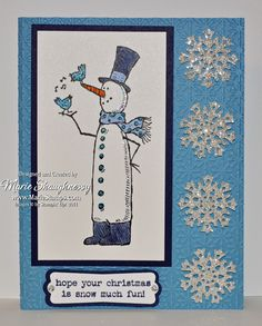 SHIMMERY SNOWMAN CARD WITH COLORED DAZZLING DETAILS by MarieStamps.com featuring Stampin' Up!'s Snow Much Fun stamp set.