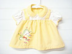 Vintage Baby Clothes, Baby Girl Dress, Vintage Baby Dress, Yellow Baby Dress, Lace Baby Dress, Dress Size 9 Months, Easter Chick