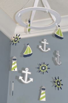 Nautical Baby Mobile - Sailboat Anchor Wheel Lighthouse - Navy White Lime Green