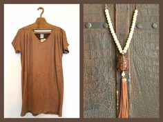 Leather short dress. Buda Leather and beads necklace with tassel
