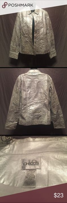 Chico's jacket Stunning embellished silver tone jacket that is perfect to go over that LBD for a night out. Chico's Jackets & Coats