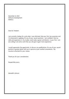 cover letter format for job application more