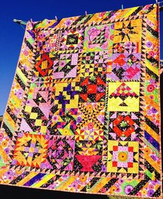 Handmade Patchwork Quilt Dramatic Black And Colourful Sampler Lovely Quilting