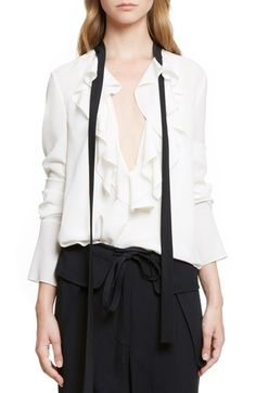 Chloé Tie Neck Ruffle Crêpe de Chine Blouse available at #Nordstrom