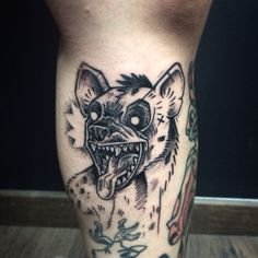 Hyena tattoo done by The Dirty Tommy at One O Nine Barcelona