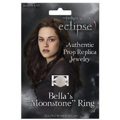 Bella's Moonstone Ring is a reproduction of the actual ring worn by Kristen Stewart as Bella Swan in Twilight, New Moon and Eclipse. Official Twilight Saga Eclipse Movie Merchandise
