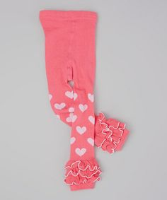 Look what I found on #zulily! Pink Heart Ruffle Footless Tights - Infant & Toddler #zulilyfinds
