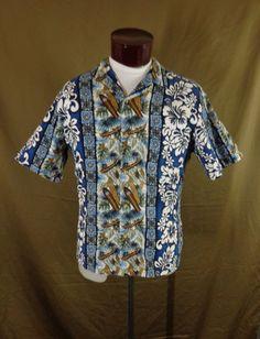 Vintage Blue RJC Outrrigers & Surfboards Print Hawaiian Shirt – Large - VLV #RJC #Hawaiian #VLV