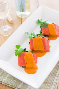 Slow Roasted Sockeye Salmon with Red Curry Sauce. Slow roasted in the oven to preserve it's vibrant color and moist texture before being covered in a creamy red curry sauce. #salmon #food #foodporn #recipe #Thai #LuxeGourmets