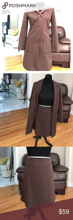 Modern Business Suit Super professional and comfortable with a twist. Long jacket with above the knee skirt in deep brown - jacket 31 inches with 4 buttons, skirt 18 inches back zip. 100% polyester hugo buscati Jackets & Coats Blazers