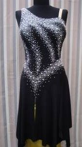 Classified Ads: Costumes: BRAND NEW BLACK LATIN DRESS WITH WHITE PEARLS
