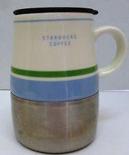 STARBUCKS COFFEE Covered Ceramic 16 oz Stainless Steel Base Mug Cup