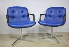 $150----matching office chars!!!-----Rare Cobalt Blue Steelcase 451 Vinyl Office Chair by AtomicAttic