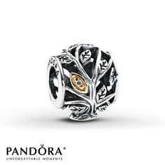 Pandora Family Tree Charm Clear CZ Sterling Silver/14K Gold My 2013 Christmas from Kenneth