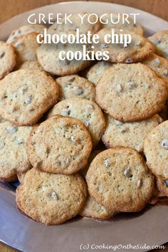 Greek Yogurt Chocolate Chip Cookies ...get the #recipe at www.cookingontheside.com
