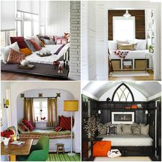 25 Cozy Nooks to inspire and admire....(love the reading nook with curtain)