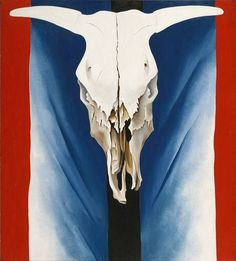 Georgia O'Keeffe: Cow Skull: Red, White, and Blue Painting Most Famous Paintings, Famous Artists, Georgia Okeefe Skull, Georgia O'keefe Art, Georgia O Keeffe Paintings, Cow Skull, Blue Painting, Art Institute Of Chicago, American Art
