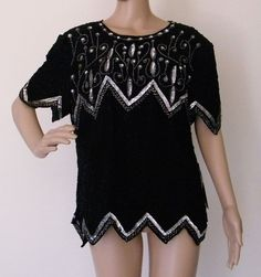 b13182a3d00 Vintage Laurence Kazar Sequined Silk Top XL India 2X Black Silver   LaurenceKazar  Blouse