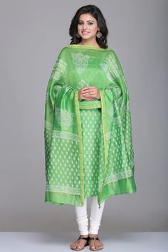 Lime Green Unstitched Chanderi Suit With Floral Motif Hand Block Print & Gold Zari Border