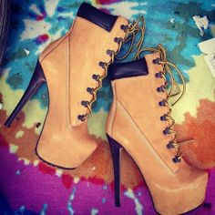 white timberland high heels