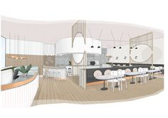 Penny Drop Café in Melbourne von We Are Huntly - Alles über Dekoration Interior Design Renderings, Interior Sketch, Interior Design Studio, Interior Design Drawing, Interior Ideas, Architecture Collage, Interior Architecture, Classical Architecture, Study Cafe