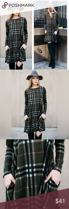 Plaid Shift Dress Plaid Shift Dress with front pocket detail!                       This is Olive, Black, White, with a stripe of Red!  Boutique Dresses Midi