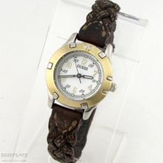 VINTAGE GUESS LADIES WATCH BROWN BRAIDED LEATHER BAND 1997 LUMINESCENT HANDS SuzePlace.com