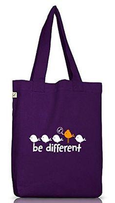 Shirtstreet24, Be Different, Jutebeutel Stoff Tasche Earth Positive (ONE SIZE), Größe: onesize,Dark Violet - http://herrentaschenkaufen.de/shirtstreet24/one-size-shirtstreet24-be-different-jutebeutel-5