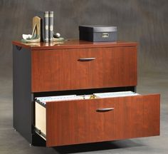 """Lateral File . $329.00. Shown in main photo against right wall on right side. Optional Lateral File Hutch shown on top. Drawers with full extension slides hold letter, legal or European size hanging files. Interlocking safety mechanism allows only one drawer open at a time. Cord management system. Adjustable levelers. Measures 34-1/8""""W x 23-1/2""""D x 29-3/4""""H overall. Shpg. wt. 132 lbs. PRICE INCLUDES FREIGHT!"""