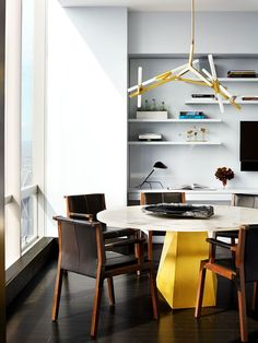 """- Midtown Pied-á-Terre """"As important as the expansive, birds-eye views of Central Park were the choices that allowed those views to shine—black, white, gray—but with a depth that made it equally as interesting. So as to not distract from the sweeping views, furnishings were kept low and clean."""" Modern Kitchen Wall Decor, Modern Kitchen Lighting, Modern Kitchen Design, Home Decor Kitchen, Interior Design Kitchen, Kitchen Ideas, Modern Kitchens, Modern Decor, Kitchen Lamps"""