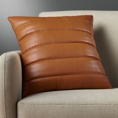 Izzy Saddle Leather Pillow with Feather-Down Insert – brown accent pillow White Fur Pillow, Black And White Pillows, Leather Pillow, Saddle Leather, Leather Sofa, Leather Cushions, Brown Leather, Leather Chairs, Wool Pillows