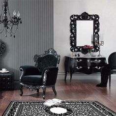 Modern, Baroque Decor& to my inspiration for the Black, White, and Purple Room& mirrored furniture. Black Decor, Interior Design, House Interior, Interior, Living Decor, Black Living Room, Gothic Home Decor, Gothic Living Rooms, Home N Decor