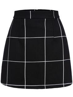 Black Plaid Mini Skirt 14.08