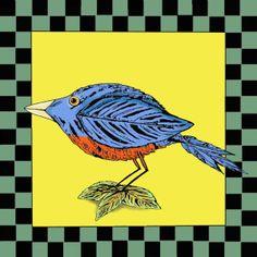 Folk Art Bird Art Print Eastern Bluebird