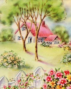 Charming cottage with white picket fence illustration