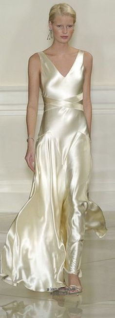 Ralph Lauren champagne silk satin evening gown. Pretty sure I have pinned a version of this dress from 1930s or 40s.