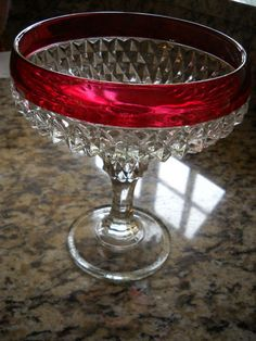 Depression Ruby Red Trimmed Diamond Cut Glass Pedestal Candy Dish Bowl | eBay