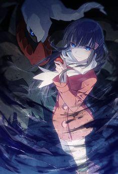 1girl black_hair blue_eyes boots darkrai hair_ornament hairclip hikari_(pokemon)…