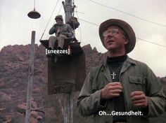 Father Mulcahy, Klinger trying to set a record for pole sitting. Best Tv Shows, Best Shows Ever, Movies And Tv Shows, Favorite Tv Shows, Favorite Things, Father Mulcahy, Mash 4077, 1970s Tv Shows, Alan Alda