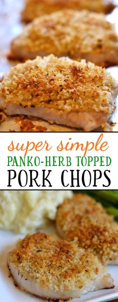 This baked pork chop recipe with a crispy panko topping is healthy, absolutely delicious, and can be made in under 30 minutes. My whole family loved it! This easy baked pork chop recipe can be made in under 30 minutes, and the Easy Baked Pork Chops, Breaded Pork Chops, Boneless Pork Chops, Oven Pork Chops, Panko Pork Chop Recipe, Baked Pork Chop Seasoning, Prok Chop Recipe, Pork Chops Bread Crumbs, Gourmet