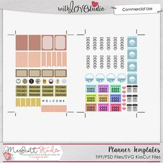 Planner Sticker Templates from Meg Scott Studio. Are you addicted to planners? This will help you organize your day, your week or your life. If so, here are some fun templates for you to turn your scrapbooking kits into fun planner pages for your everyday use!  This kit includes the following templates in both PSD and TIFF forms also included are stickers black file for creating kisscut lines in Sihouette or Cricut as well as Studio3 files for Silhouette with kisscut lines already created.