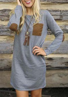 Grey Patchwork Long Sleeve Casual Cotton Blend T-Shirt